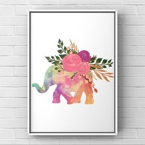 Multicolored watercolor elephant flowers art print